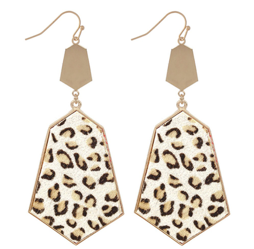 Geometric Leopard Drop Earrings
