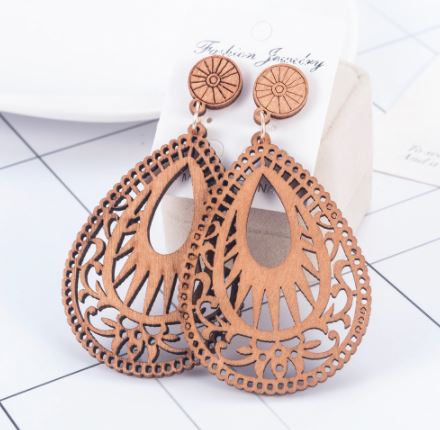 Scalloped Wood Laser Cut Earrings