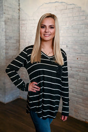 Black Striped Sequin Pocket Top S-3X