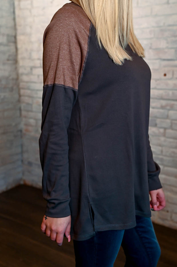 Neutral Two Toned Pullover S-2X