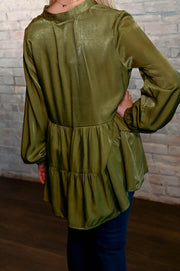 Olive Tiered Ruffle Sateen Blouse S-XL