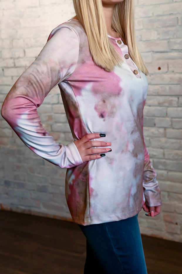 Pink & Brown Tie Dye Ribbed Top S-2X