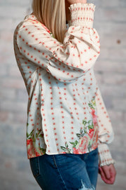Floral Balloon Shirred Sleeve Blouse S-2X