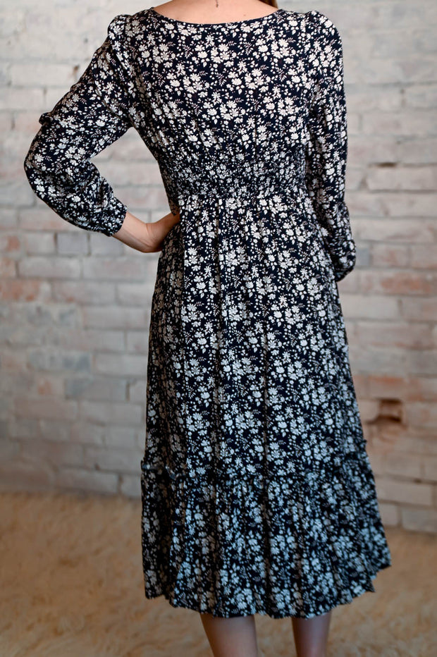 Navy Floral Square Midi Dress S-XL