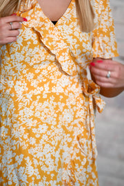 Mustard Floral Ruffle Wrap Dress XS-3X