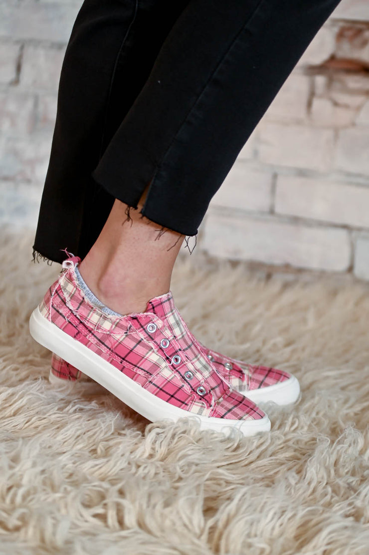 Pink Plaid Canvas Sneaker 6-11