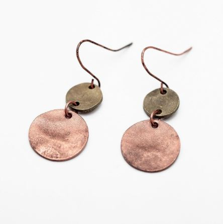 Copper & Gold Coin Earrings