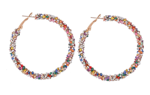 Multi Color Cluster Rhinestone Hoops