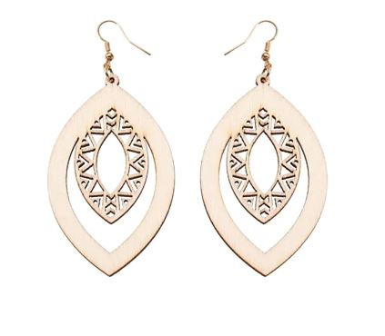 Laser Cut Natural Wood Earrings
