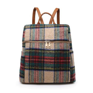 Plaid Fabric Backpack