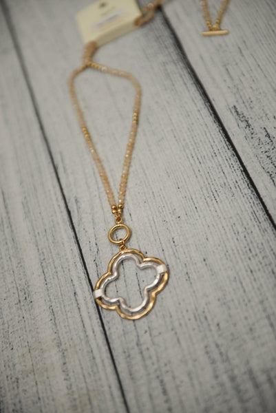 Quatrefoil Crystal Bead Necklace