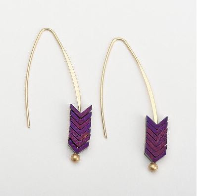 Purple Arrow Threaded Earrings