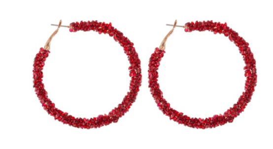 Red Cluster Rhinestone Hoops