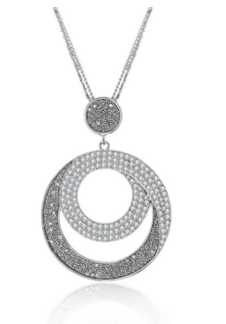 Rhinestone Frosted Circle Pendant Necklace