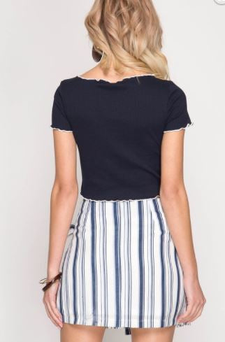 Striped Wrap Mini Skirt