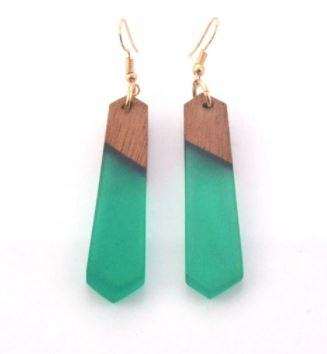 Teal Sea Glass & Wood Earrings