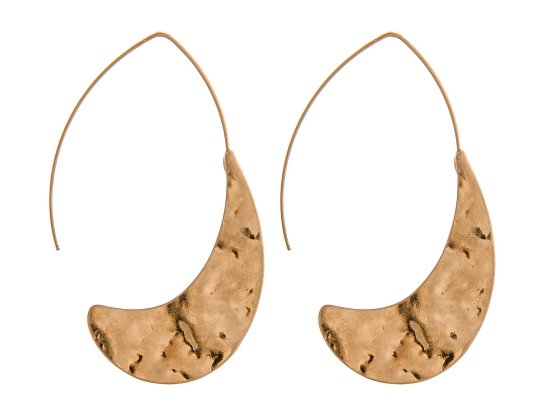 Thin Hammered Threaded Crescent Earrings