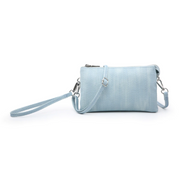 Light Blue Herringbone Tri-Zip Crossbody/Wristlet