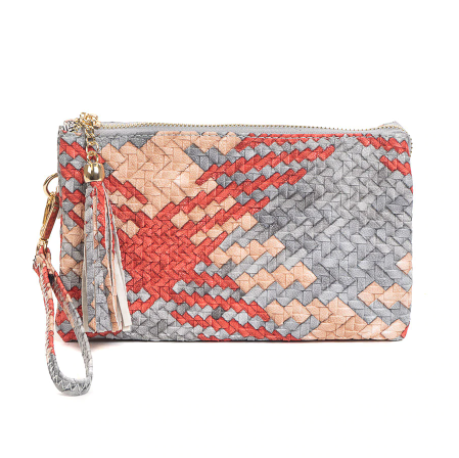 Multi Color Woven Tri-Zip Crossbody/Wristlet