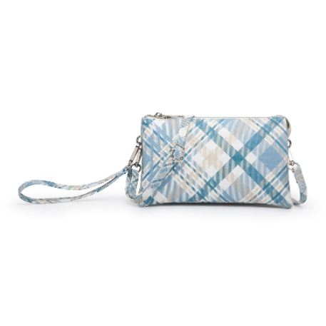 Blue Plaid Tri-Zip Crossbody/Wristlet