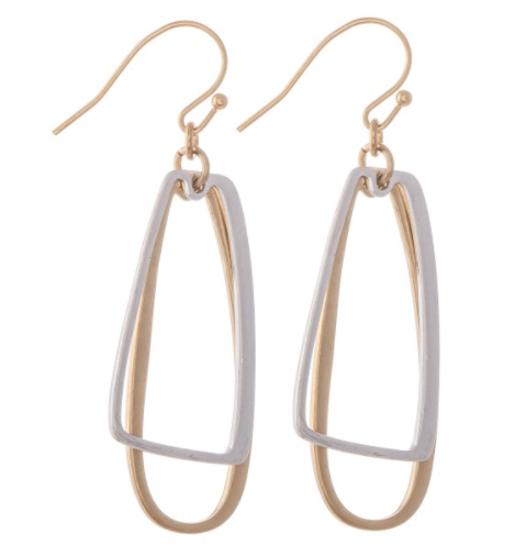 Two Tone Geometric Dangle Drop Earrings