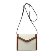 Structured Two-Tone Straw Crossbody