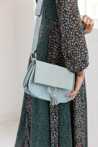 Teal Two-Tone Suede Crossbody