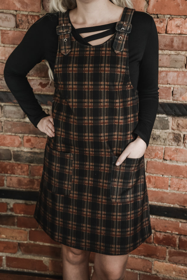 Brown Plaid Apron Dress S-2X