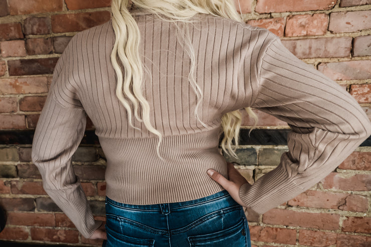 Taupe Cropped Ribbed Sweater Cardigan S-XL-Sweater-9Lilas