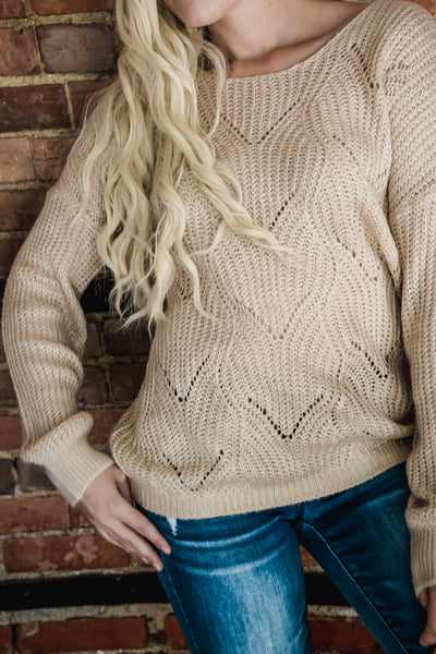 Taupe Patterned Sweater S-XL-Sweater-9Lilas