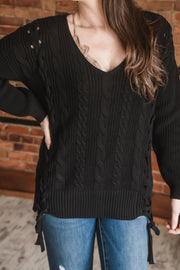 Black Lace Up Detail Sweater S-XL