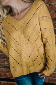 Mustard Cable Open Knit Sweater S-L-Sweater-9Lilas