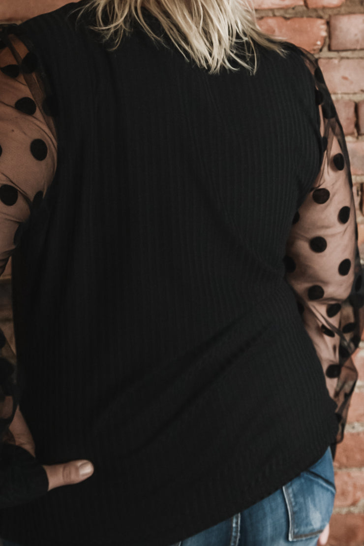 Black Sheer Polka Dot Sleeve Top XL-3X