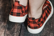 Red Plaid Canvas Sneaker 6-11