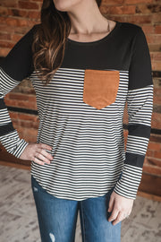 Suede Pocket Stripe Contrast Top S-2X