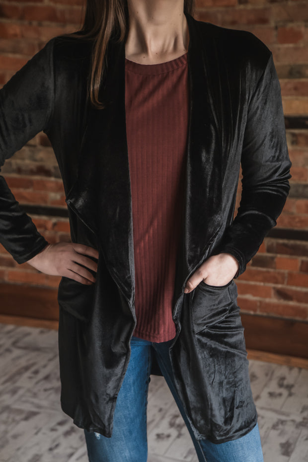 Black Velour Cardigan S-2X