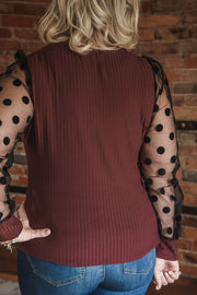 Burgundy Sheer Polka Dot Sleeve Top XL-3X