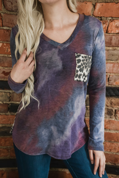Purple Tie Dye & Leopard Top S-3X