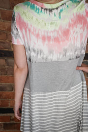 Tie-Dye & Stripe Color Block Dress S-3X