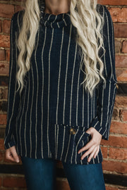 Navy Stripe Cowl Pocket Sweater S-2X