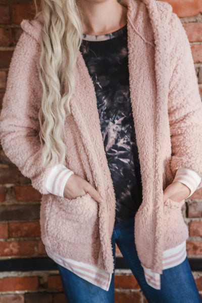 Pink Athletic Banded Plush Cardigan S-XL