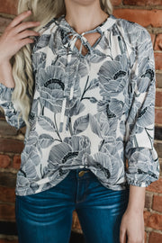 Navy Floral Print Blouse S-2X
