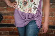 Lavender Floral Color Block Top S-3X
