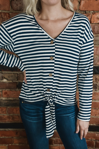 Navy Stripe & Button Tie Top S-XL