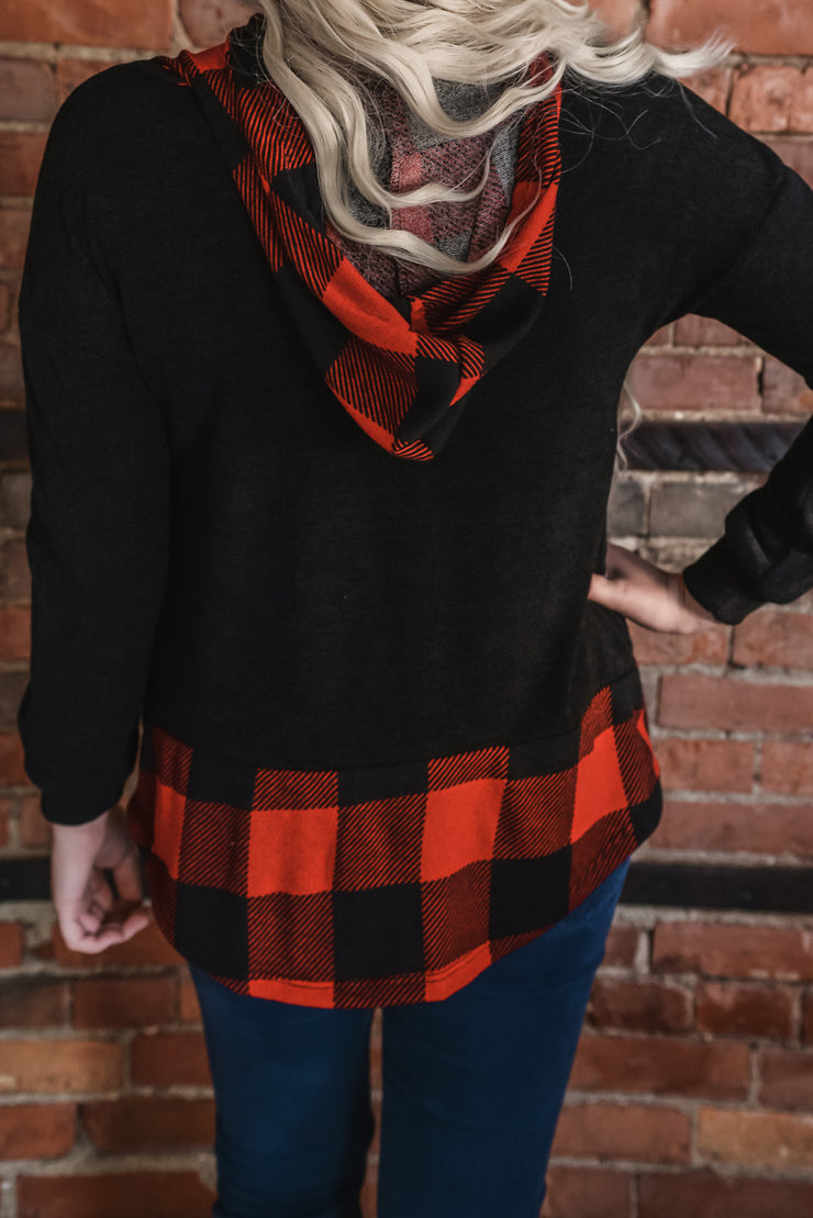 Buffalo Plaid Contrast Hooded Top S-3X