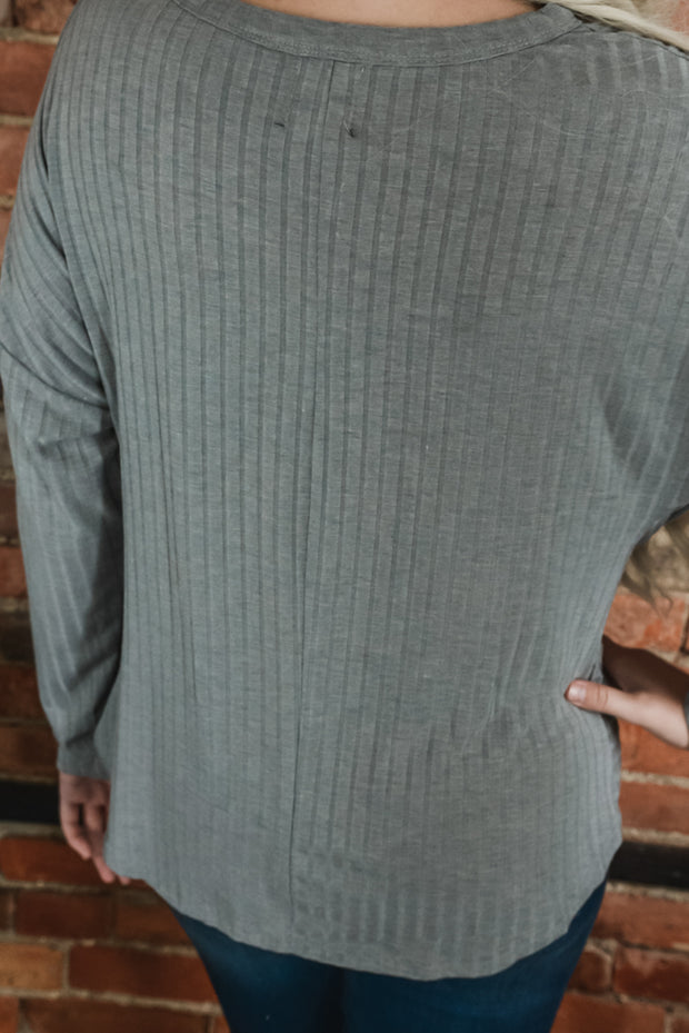 Grey Ribbed Front Twist Top S-XL