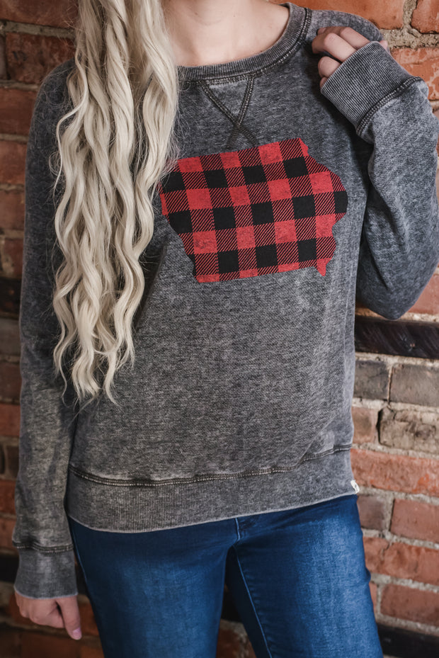 Buffalo Plaid Iowa Sweatshirt S-2X