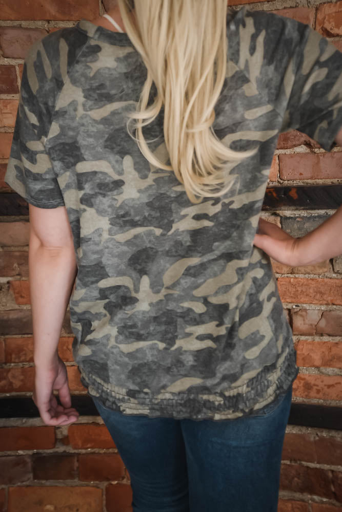 Ruched Camo Top S-L-Top-9Lilas