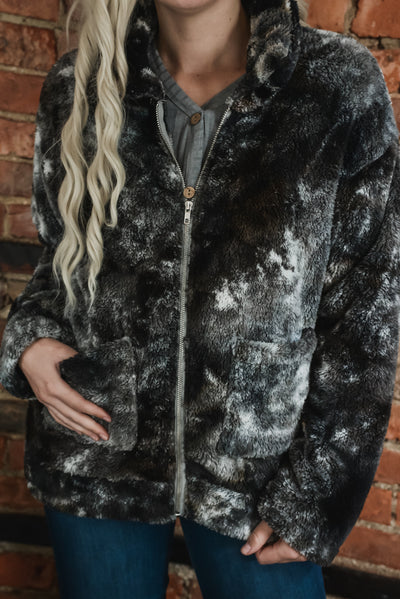 Midnight Tie Dye Fleece Zip-Up Jacket S-XL