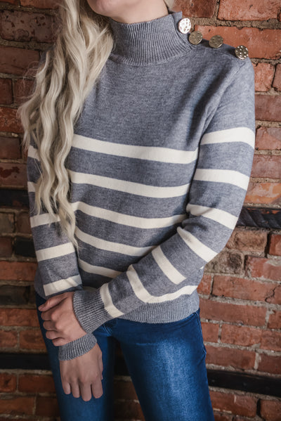 Grey Stripe Button Sweater S-XL